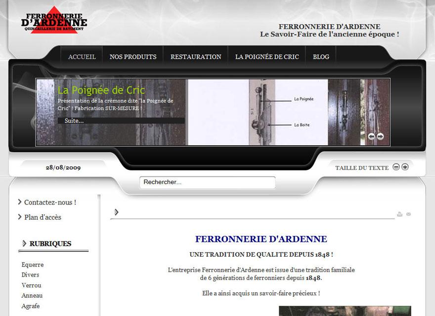 Création site internet : Ferronnerie Dardenne - site internet ferronnerie