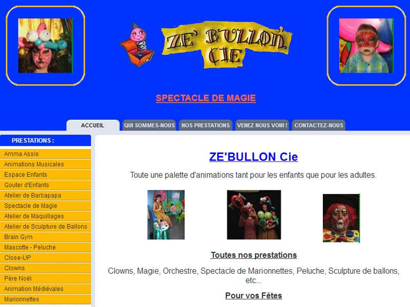 Création site internet : ZE'BULLON-Cie - site internet animations enfants