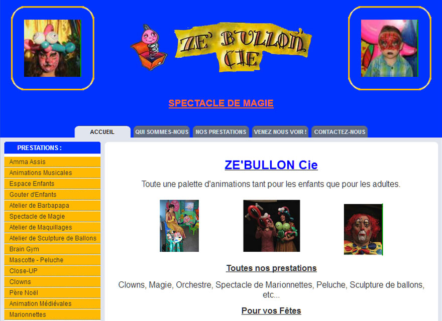 site internet spectacle animation zebullon cie